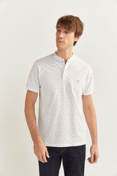 Springfield Short Sleeve Slim Fit Mandarin Collar Printed Polo Shirt for Men, Medium, White