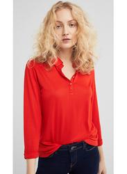 Springfield Long Sleeve Plain Collared T-Shirt for Women, Large, Orange