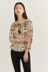 Springfield Long Sleeve Geometric Print Blouse for Women, 42 EU, Beige