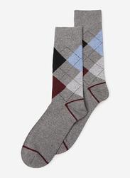 Springfield Mid Crew Fancy Socks for Men, Dark Grey, X-Small
