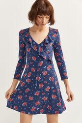 Springfield Short Flounced Wrap Mini Dress, Extra Large, Light Blue