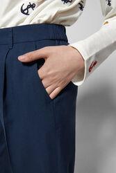 Springfield Cotton Fancy Pant for Women, 38 EU, Navy Blue