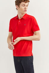 Springfield Short Sleeve Slim Fit Pique Polo Shirt for Men, Large, Red