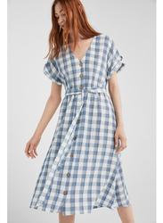 Springfield Check Pattern Knitted Midi Dress, 42 EU, Light Grey/White