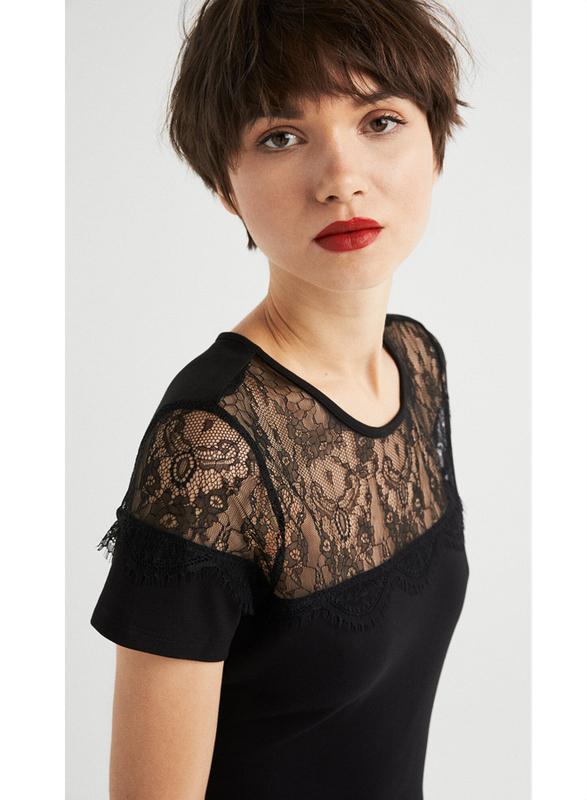 Springfield Lace Detail Short Sleeve Woven Mini Dress, Medium, Black