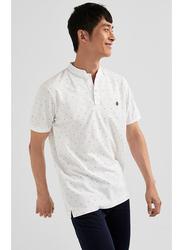 Springfield Short Sleeve Basic Slim Fit Mandarin Neck Polo Shirt for Men, Triple Extra Large, White