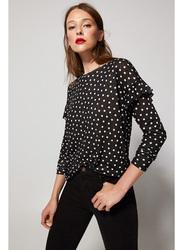 Springfield Long Sleeve Plain Round Neck Polka Dots T-Shirt for Women, Medium, Black