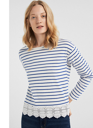 Springfield Striped Long Sleeve T-Shirt for Women, Large, White