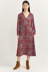 Springfield Long sleeve Crossed Midi Dress, 44 EU, Orange