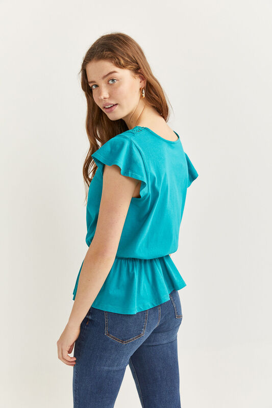 Springfield Sleeveless Frill T-Shirt for Women, Medium, Green