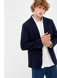 Springfield Long Sleeve Plain Solid Business Jacket for Men, Large, Dark Blue