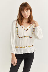Springfield Long Sleeve Ethnic Embroidery Shirt for Women, 38 EU, Beige