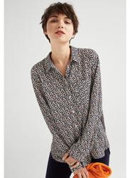 Springfield Long Sleeve Plain Printed Blouse for Women, 36 EU, White