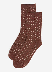 Springfield Printed Low Cut Socks for Women, Brown, 39 EU