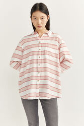 Springfield Long Sleeve Horizontal Striped Shirt for Women, 34 EU, Red
