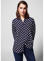 Springfield Plain Long Sleeve Collared Blouse for Women, 38 EU, Light Blue