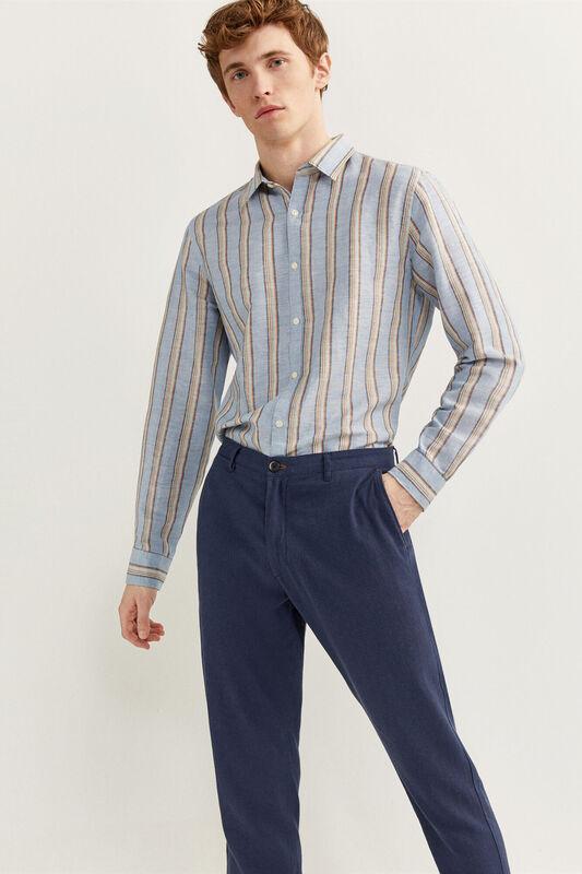 Springfield Slim Fit Linen Blend Chinos for Men, 42 EU, Medium Blue