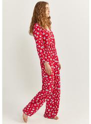 Springfield Cotton Fancy Jumpsuit for Women, 38 EU, Red