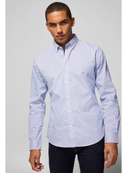 Springfield Long Sleeve Stripped Business Shirt for Men, Extra Small, Medium Blue