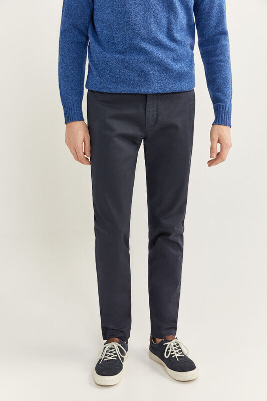 Springfield Textured Straight Fit Chinos for Men, 38 EU, Navy Blue