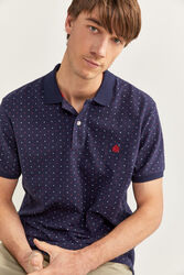 Springfield Short Sleeve Printed Polo Shirt for Men, Medium, Navy Blue