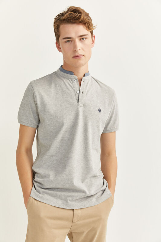 Springfield Short Sleeve Slim Fit Chambray Mandarin Collar Embroidered Logo Polo Shirt for Men, Small, Grey