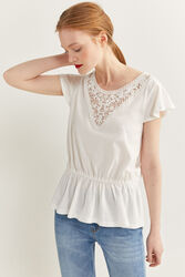 Springfield Sleeveless Frill T-Shirt for Women, Medium, Off White