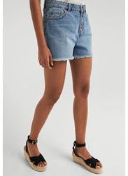Springfield Denim Bermuda Shorts for Women, 40 EU, Medium Blue