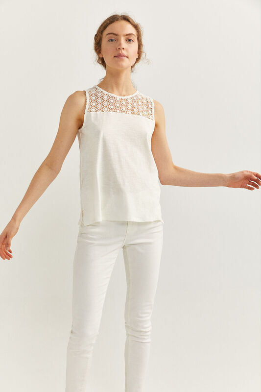 Springfield Sleeveless Lace Detail T-Shirt for Women, Small, Off White