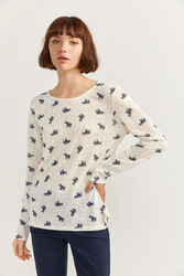 Springfield Long Sleeve Elephant Printed T-Shirt for Women, Extra Small, Beige