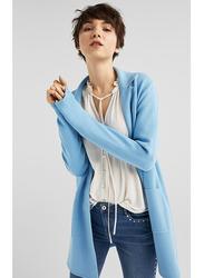 Springfield Lapel Collar Cardigan Tricot for Women, Medium, Medium Blue