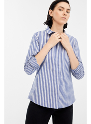 Springfield Plain Long Sleeve Collared Neck Blouse for Women, 36 EU, Medium Blue