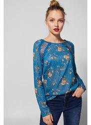 Springfield Long Sleeve Plain Round Neck T-Shirt for Women, Small, Light Blue