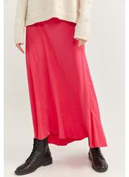 Springfield Solid Midi Skirt, 40 EU, Pink