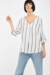 Springfield Long Sleeve V-Neck Striped Blouse for Women, 34 EU, Multicolor
