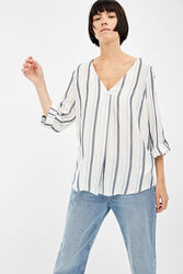 Springfield Long Sleeve V-Neck Striped Blouse for Women, 34 EU, Multicolor