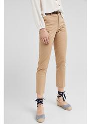 Springfield Cotton Fancy Pants for Women, 40 EU, Beige