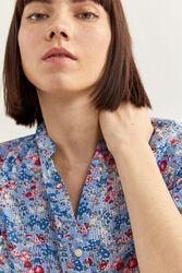 Springfield Long Sleeve Robe Collar Floral Printed Blouse for Women, 40 EU, Medium Blue