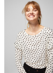 Springfield Long Sleeve Plain Round Neck Polka Dots T-Shirt for Women, Medium, White/Black
