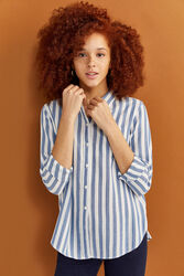 Springfield Long Sleeve Vertical Striped Shirt for Women, 40 EU, Navy Blue