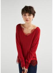 Springfield Long Sleeve Plain V-Neck T-Shirt for Women, Medium, Orange