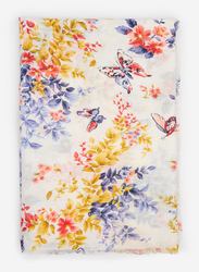 Springfield Floral and Butterfly Graphics Scarf for Women, Extra Small, White
