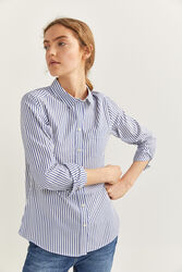 Springfield Long Sleeve Striped Essential Shirt for Women, 34 EU, Light Blue
