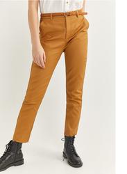 Springfield Cotton Fancy Pant for Women, 34 EU, Beige/Camel