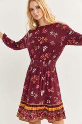 Springfield 7/8 Length Sleeve Flounced Border Mini Dress, Extra Large, Red