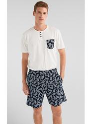 Springfield Short Sleeve T-Shirt and Shorts Pyjamas for Men, Medium, Dark Blue