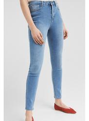 Springfield Fancy Denim Jeans for Women, 42 EU, Light Blue