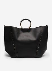 Springfield Studded Details Shopper Bag for Women, Black