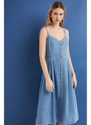 Springfield Button Details Knitted Midi Dress, 42 EU, Medium Blue