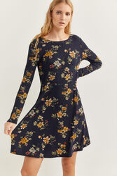 Springfield Long Sleeve Printed Mini Ribbed Dress, Medium, Dark Grey